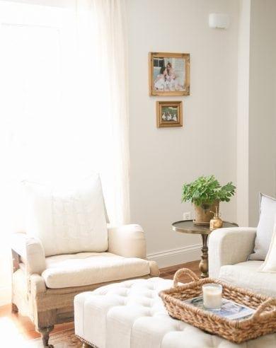 neutral living room | spring decor