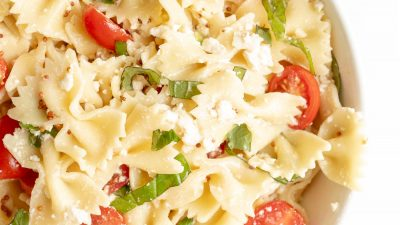 pretty bowtie pasta salad with pasta salad dressing
