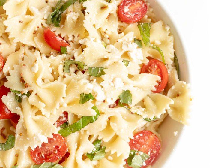 pretty bowtie pasta salad with pasta salad dressing