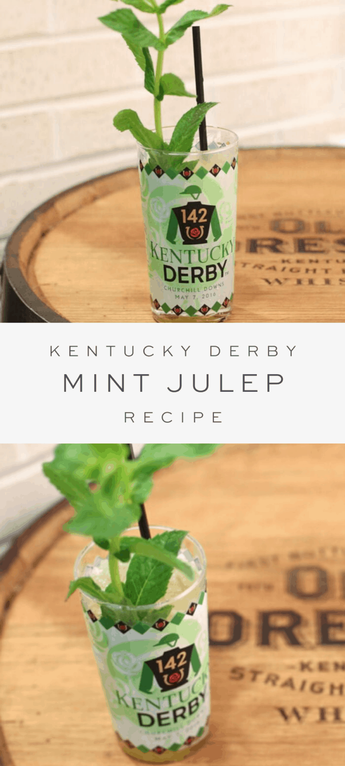 mint julep cocktail on barrel, overlay text, close up of mint julep cocktail