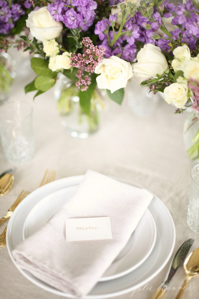 How to use pre-arranged flowers to create a last minute table setting that doubles as Mother's Day gifts