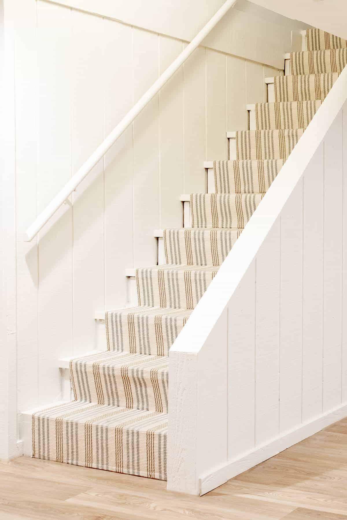 stair runner on basement stairs
