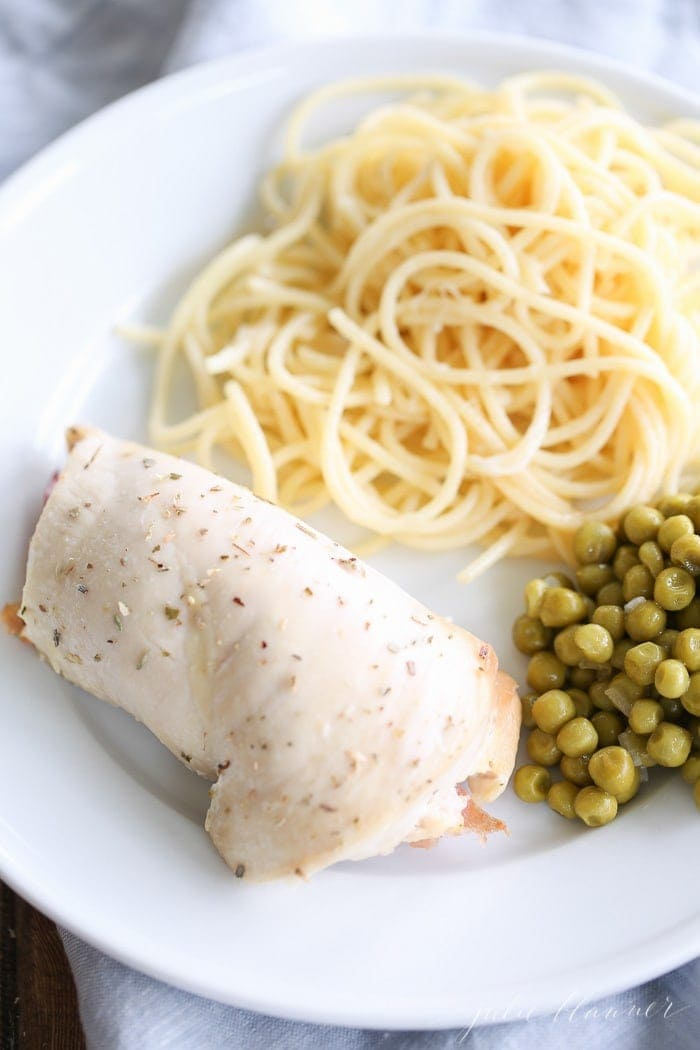 An easy, crowd pleasing 10 minute dinner - Prosciutto and Fontina Stuffed Chicken Breasts