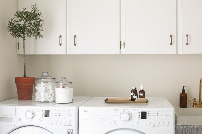 simple laundry room organization containers