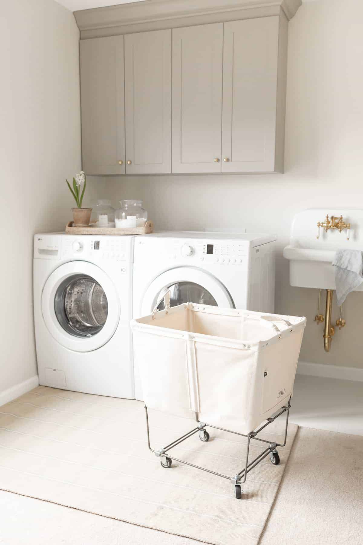 laundry room cabinets and cart