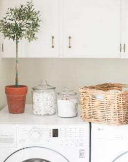 simple laundry room organization ideas with free printable labels