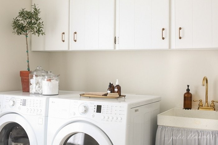 white and cream laundry room, washer and dryer and sink with a plant on top