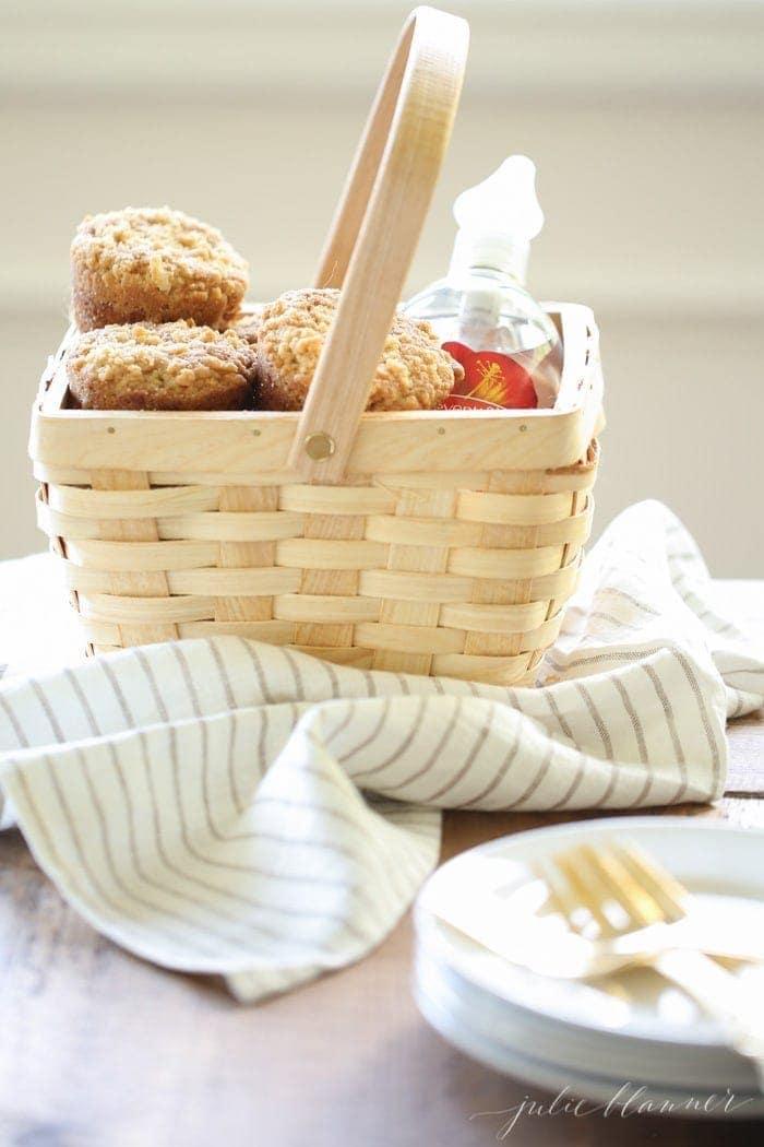 Apple Cobbler Muffins in a basket