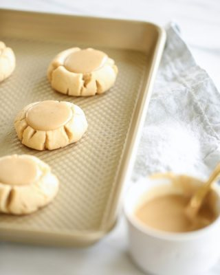 Classic lofthouse style sugar cookies with salted caramel icing