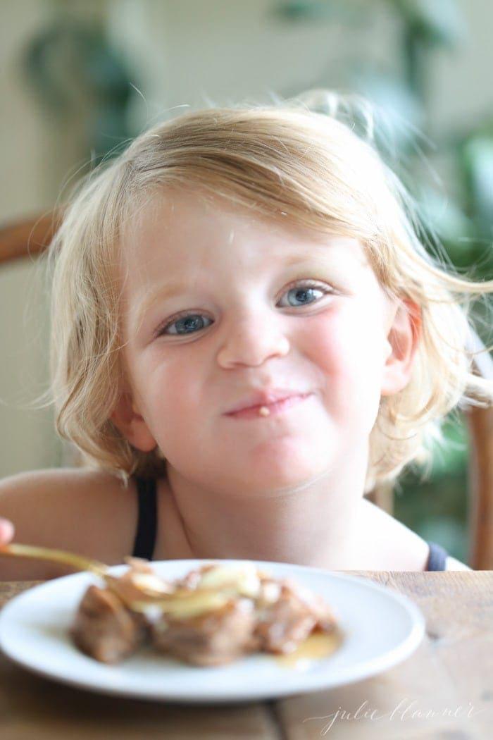 kid eating protein pancakes