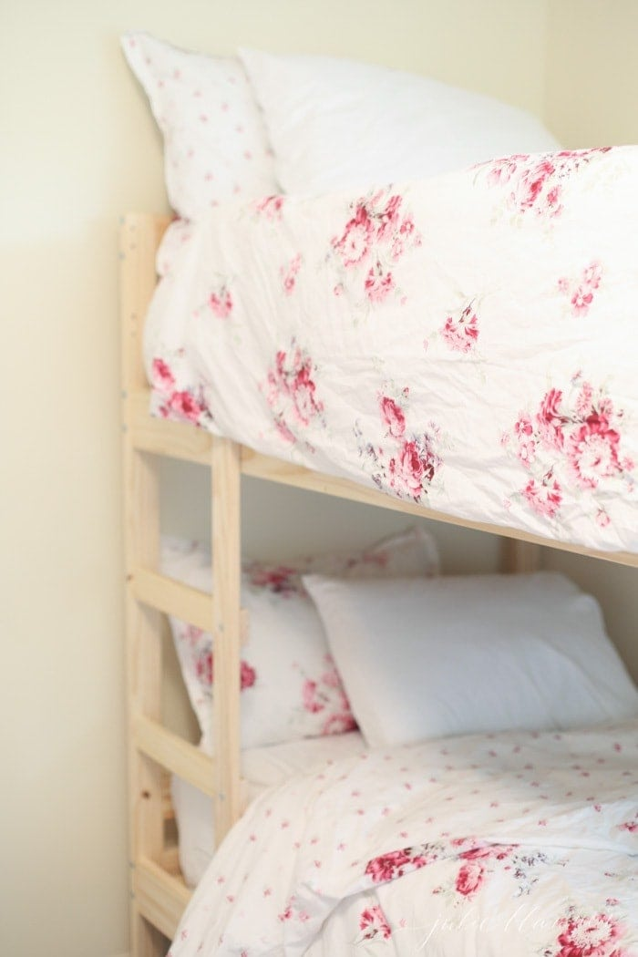 See the inspiration for a bunk bed room with soft and subtle paint colors