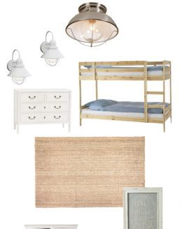 playful girls' bedroom with pretty blush, soft green and dusty blue hues
