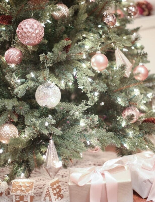 beautiful blush pink whimsical Christmas tree decorating ideas