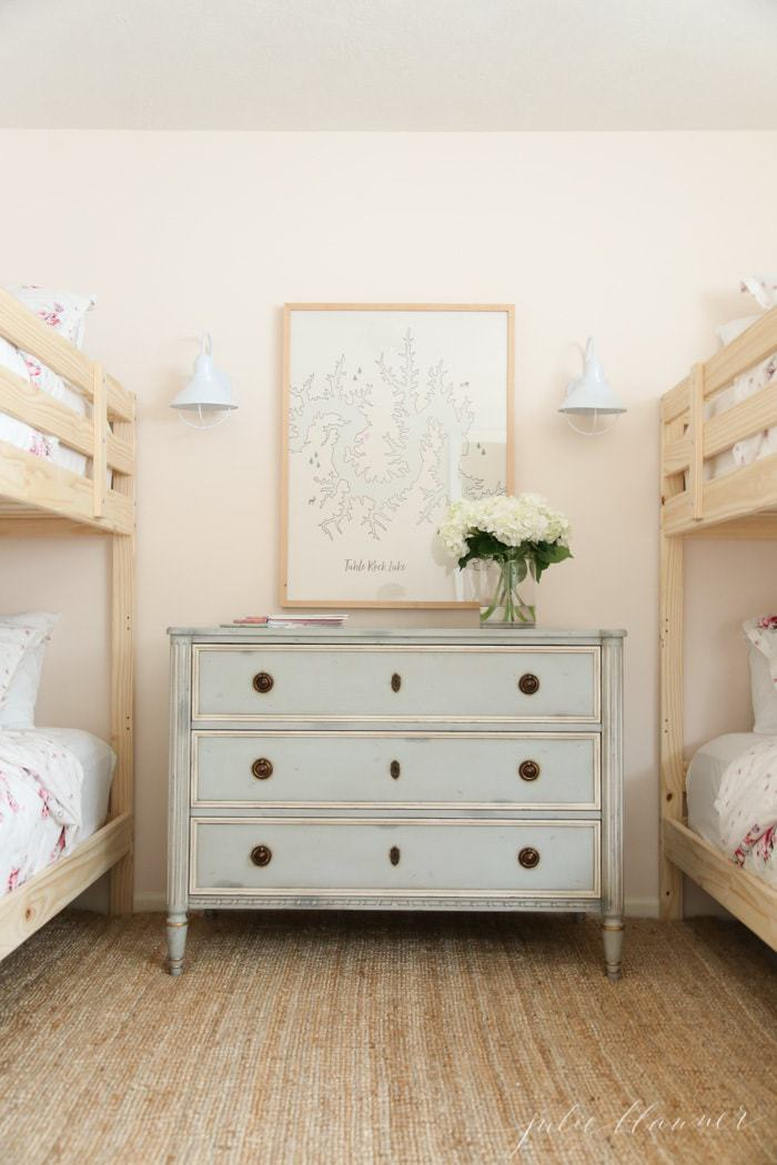 A Cottage Bedroom With Charming Wooden Bunk Beds Julie Blanner