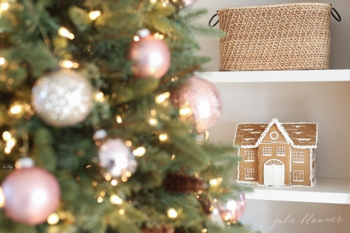 Christmas decorations | pink ornaments, gingerbread houses nostalgia and whimsical