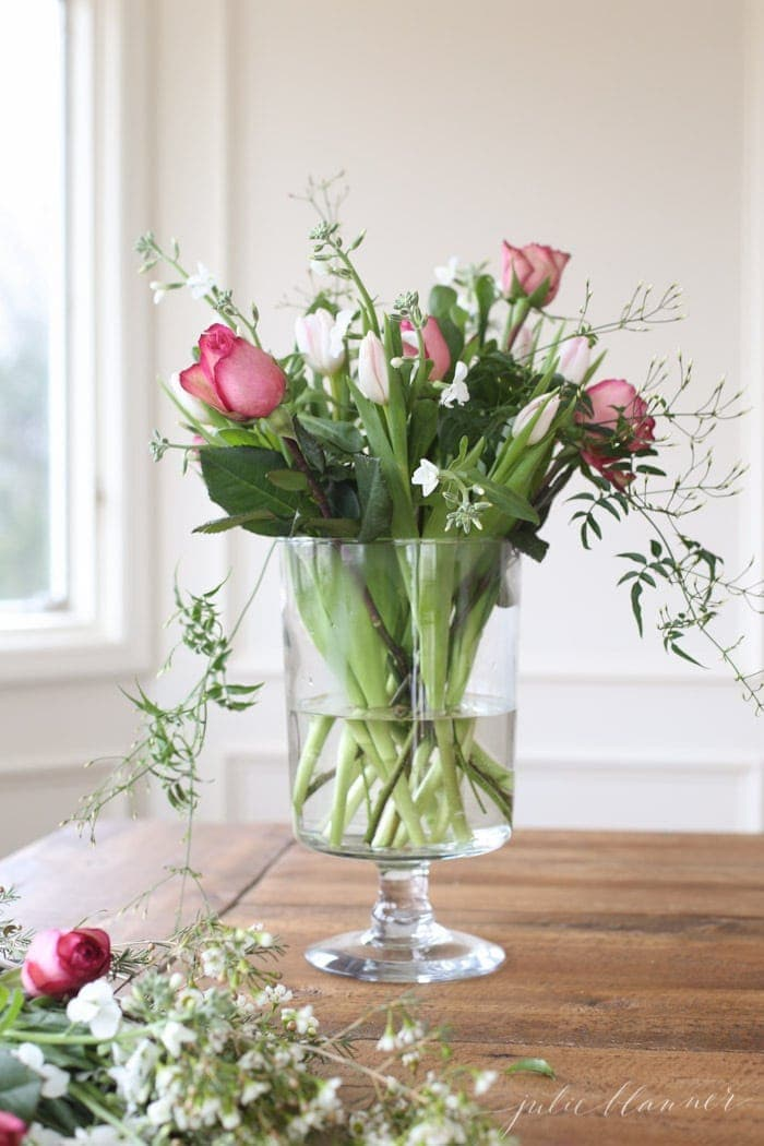 how to arrange grocery store flowers for Valentine's Day