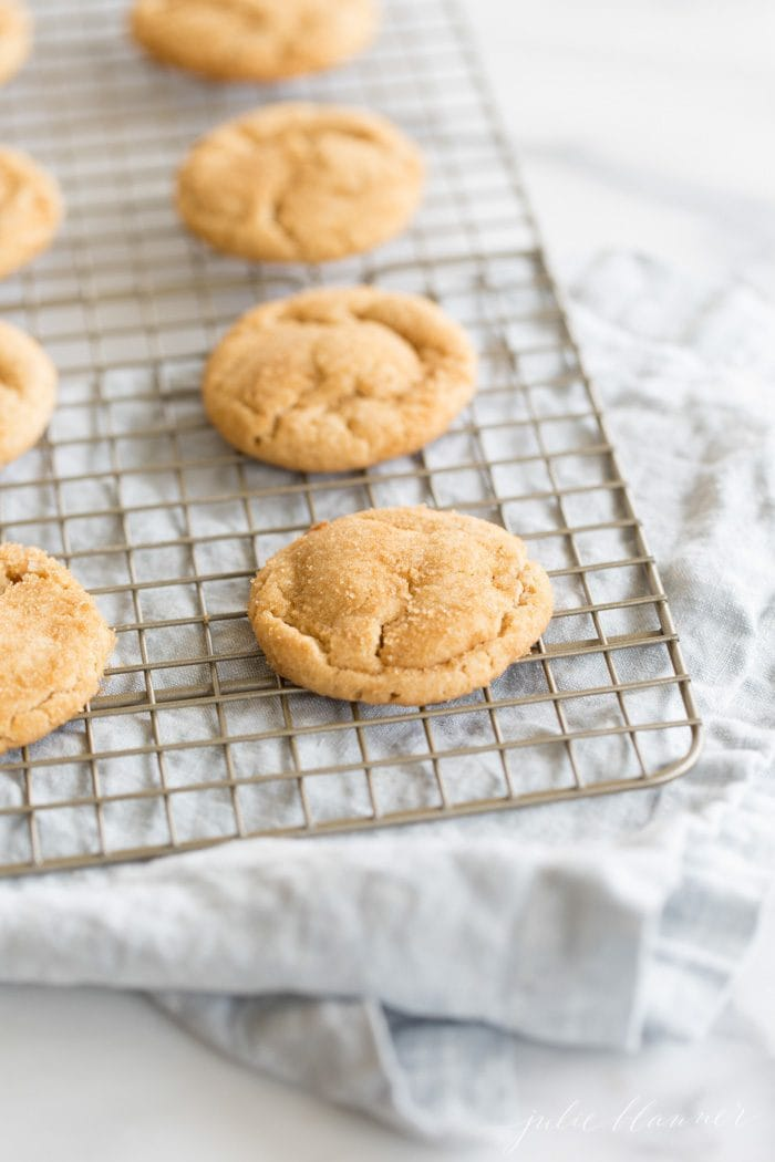 chocolate stuffed peanut butter cookies on a cooling rack