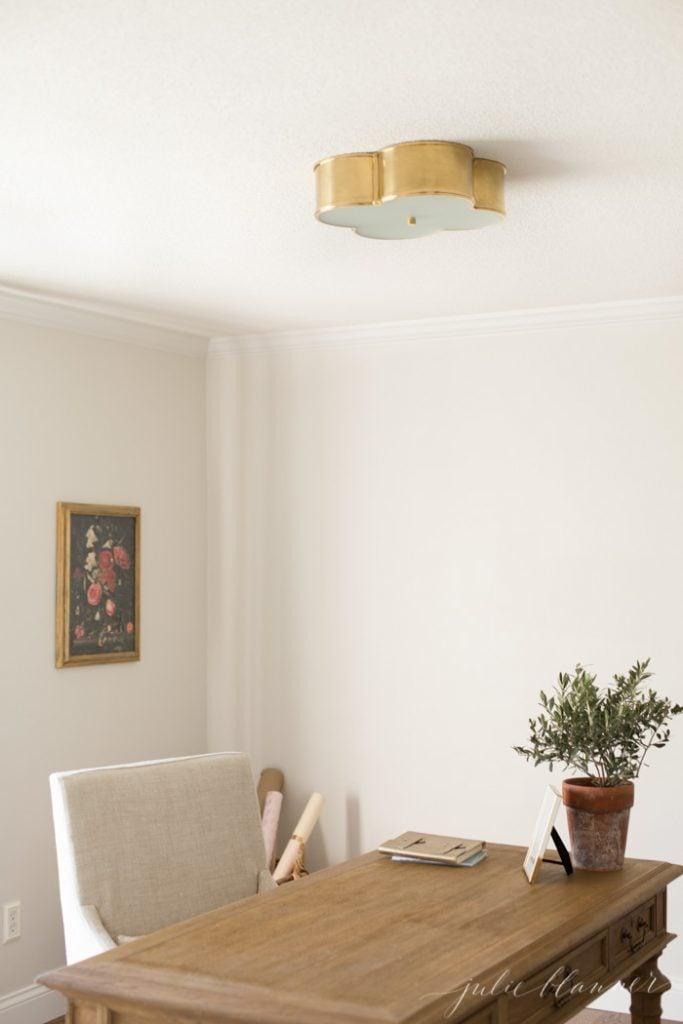 brass light fixtures   quatrefoil basil flush mount light
