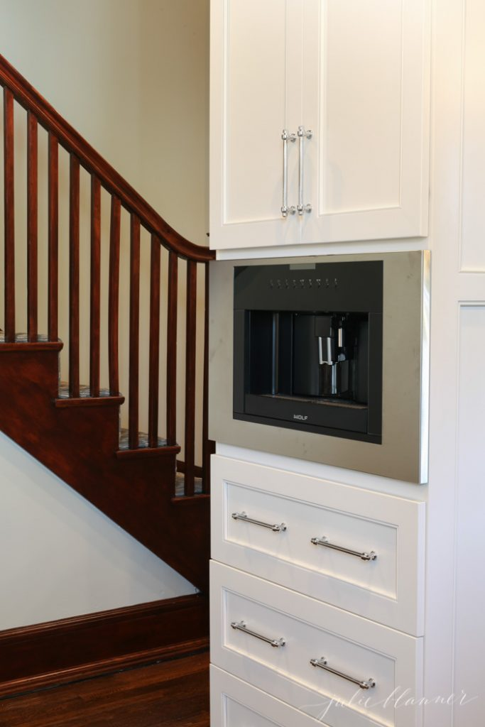 build in coffee maker | modern conveniences in old home