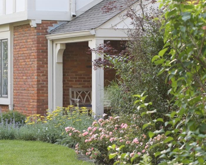 a cottage garden filled with catmint, grasses, russian sage and yarrow