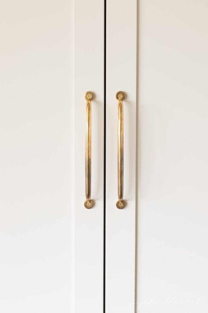 unlacquered brass appliance pulls