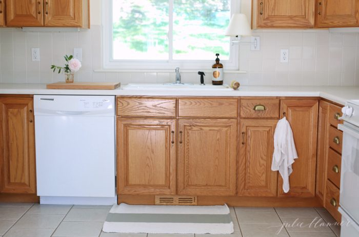 making 80's oak cabinets feel fresh without paint