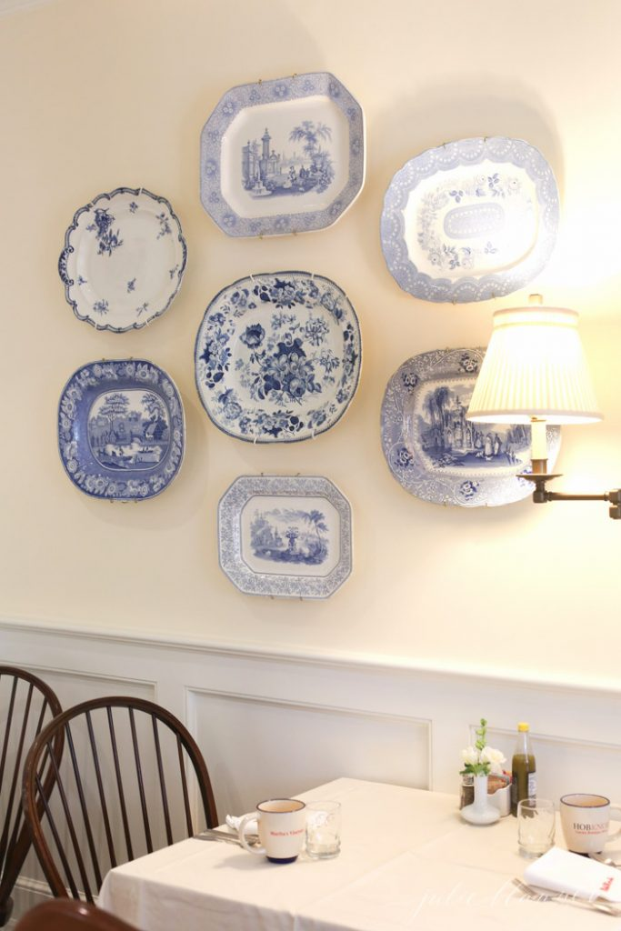pretty platter wall with traditional decor on Martha's Vineyard
