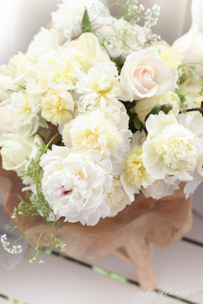 gorgeous blush centerpiece with peonies, roses and herbs for beginners