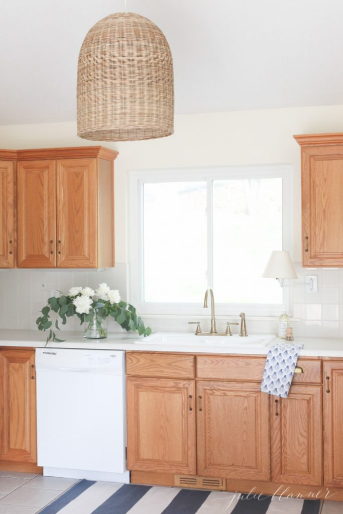 how to update dated oak cabinets without paint