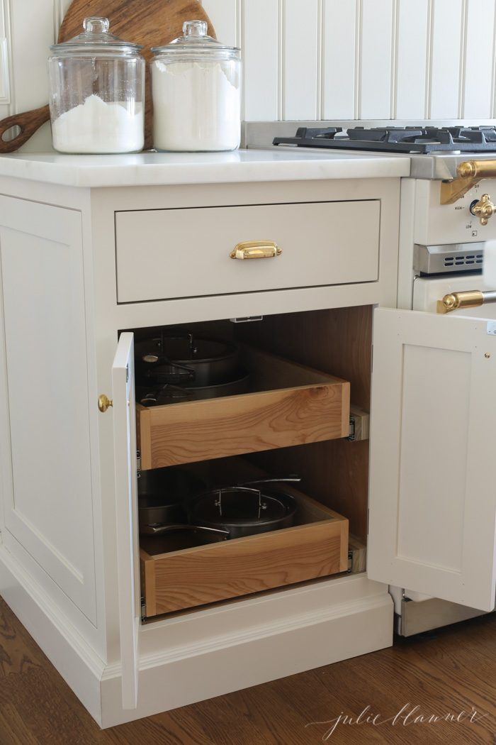 cabinet pullouts to store pots and pans