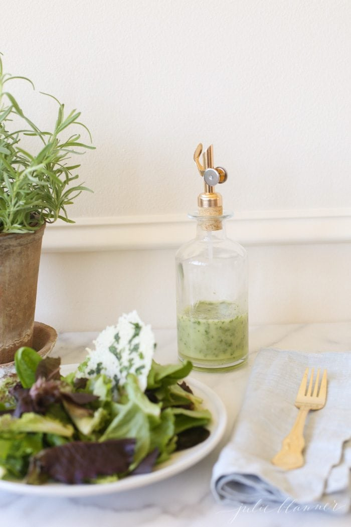 How to make a homemade herb vinaigrette dressing. A flavorful and easy salad dressing that can be prepared in just a minute.