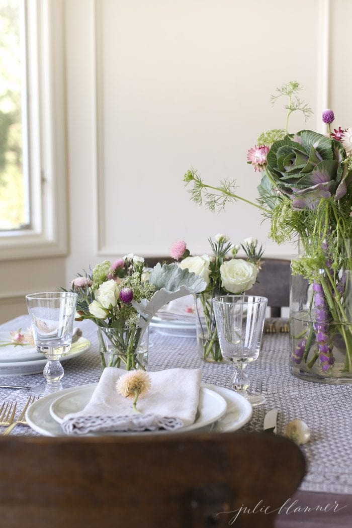 beautiful fall table setting with block print table cloth and wildflowers