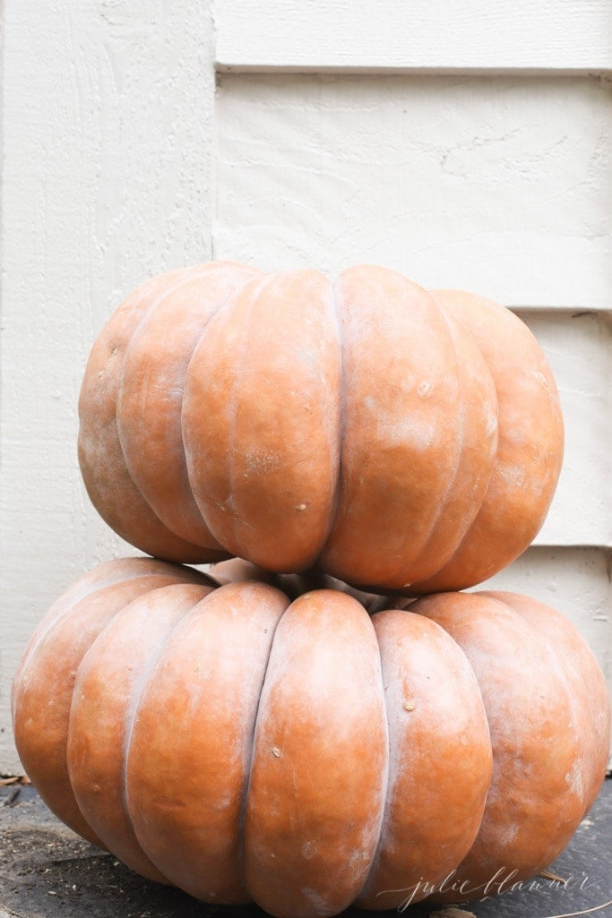 Stacked heirloom pumpkins in front of the house