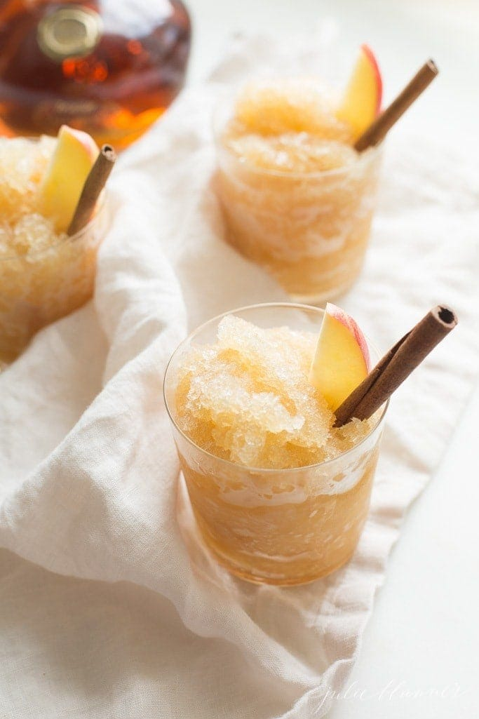 Easy 2 minutes, 2 ingredient bourbon slush recipe that serves a crowd! This apple cider cocktail creates the perfect taste of fall!