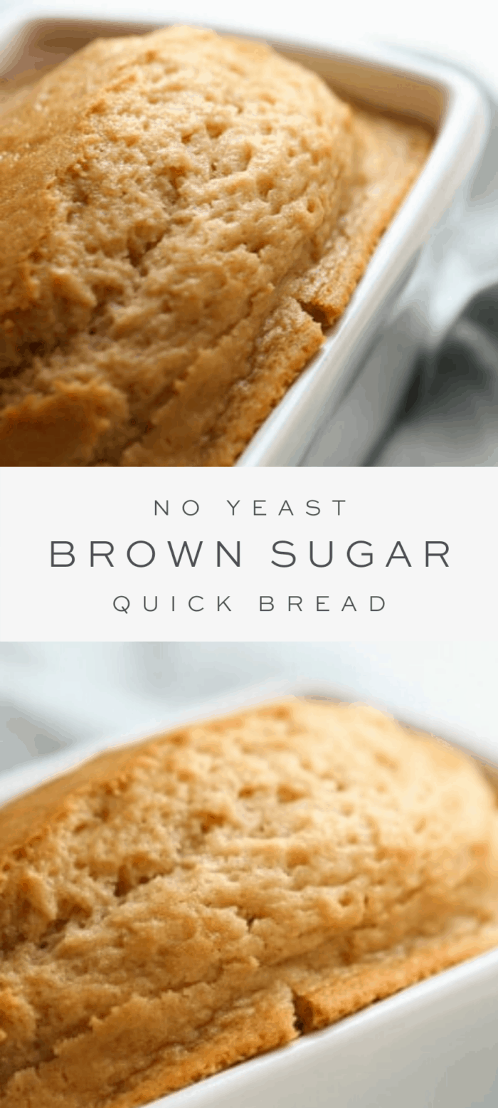 brown sugar bread in loaf pan, overlay text, close up of bread