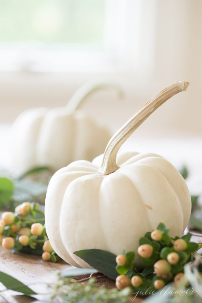 mini pumpkin table runner Thanksgiving entertaining