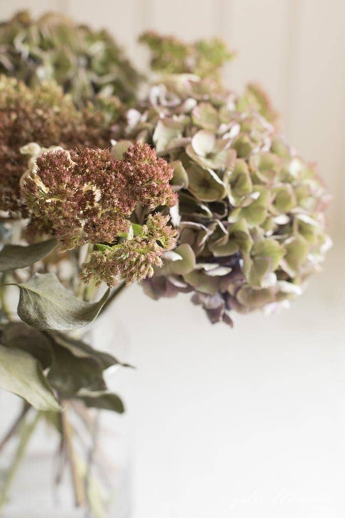 decorating for fall with dried flowers and branches