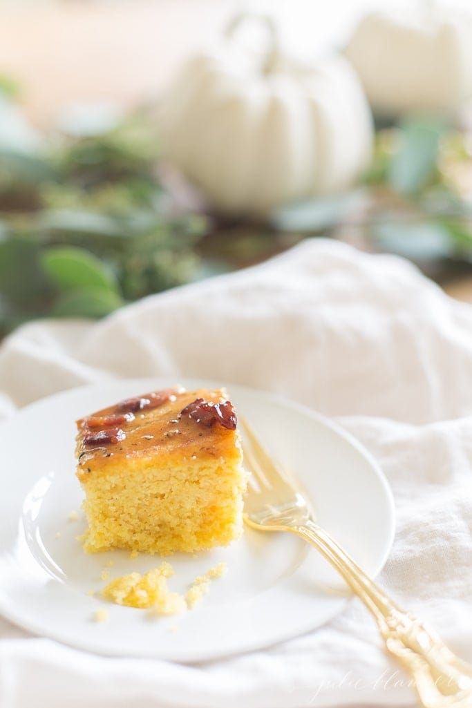 Crispy homemade cornbread topped with an incredible maple butter an easy sweet and savory cornbread Thanksgiving side dish that everyone will love!