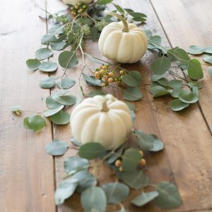 pretty Thanksgiving centerpiece with mini pumpkins