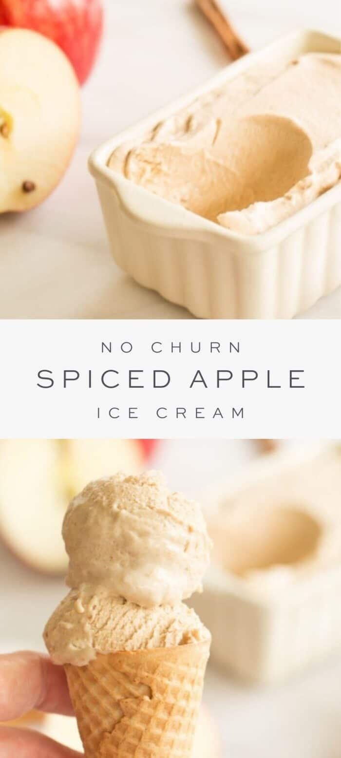 spiced apple ice cream in loaf pan missing a scoop, overlay text, spiced apple ice cream in ice cream cone