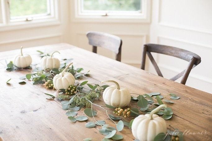 Simple fall tablescape with mini white pumpkins