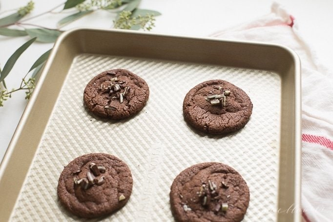 best andes mint chocolate cookies on baking sheet