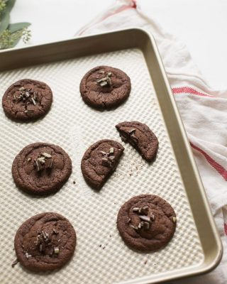 chocolate cookies stuffed with andes mints Christmas cookie recipe