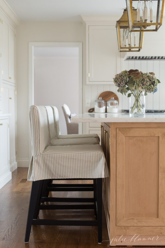 kitchen counter stools from ikea with custom ticking stripe slipcovers