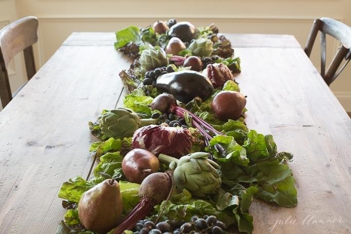 fruit and vegetable table runner
