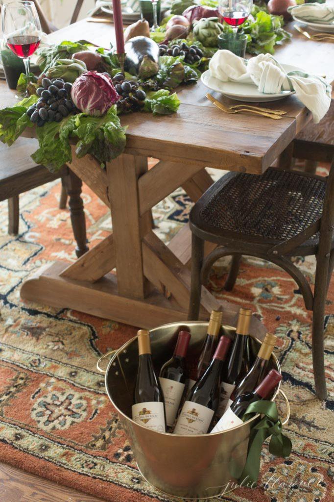 friendsgiving ideas - host a wine tasting party