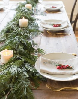 Red and Green Garland Centerpiece and Christmas Table Setting & Christmas table setting Archives - Julie Blanner