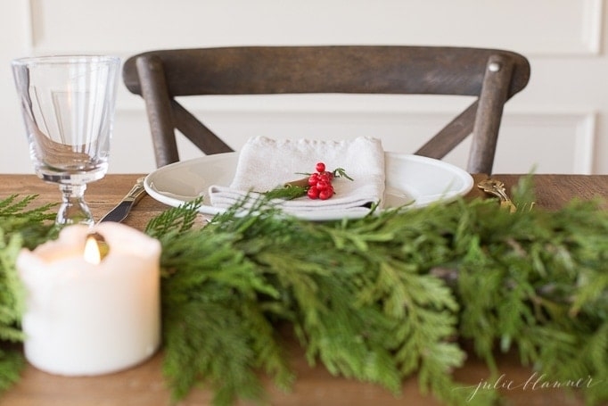 classic Christmas table setting