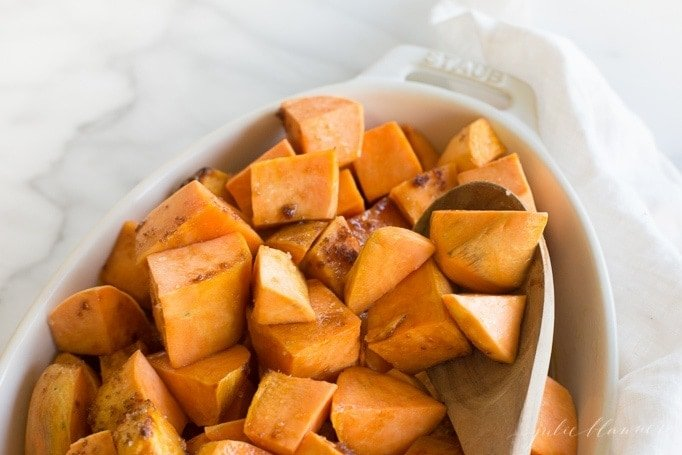 easy sweet and salty roasted sweet potatoes side dish