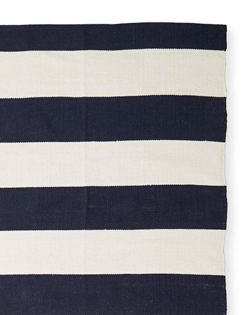 indoor outdoor easy to clean blue stripe rug